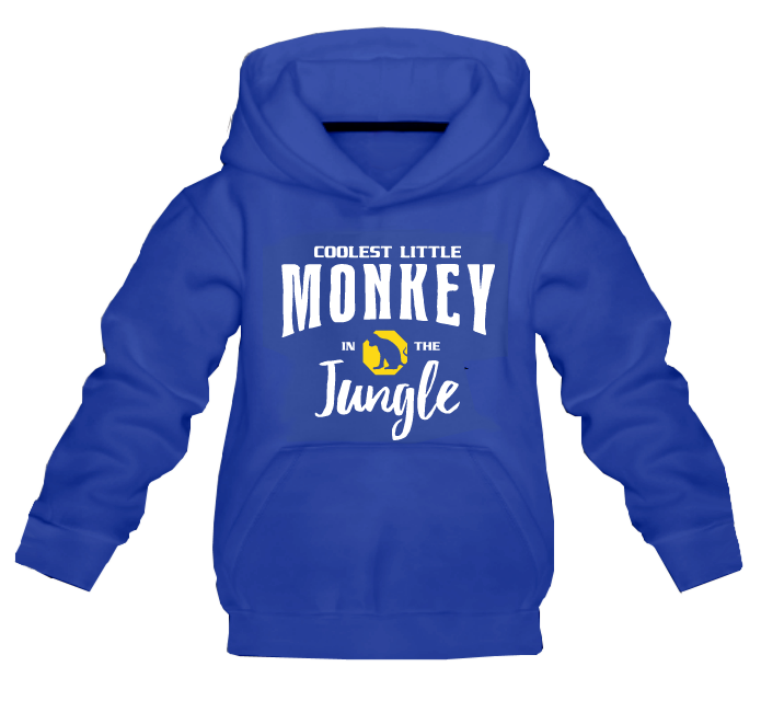 Kapuzenpullover 'Coolest Little Monkey in the Jungle' in blau